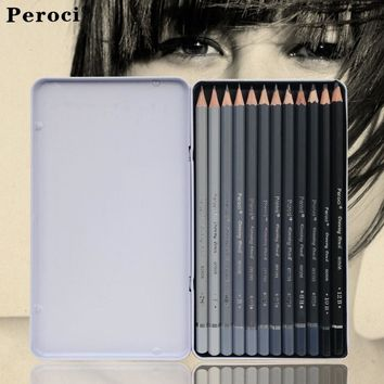 12pcs Graphite Sketching Pencils Professional Drawing Tools Pencil Set for Art School Supplies