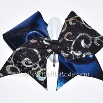 """3"""" Wide Luxury Cheer Bow - Black / Silver Swirl with Blue"""