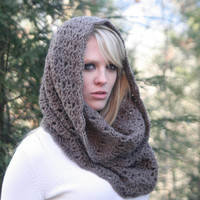Textured Cowl / Snood Scarf / Cafe Mocha or Choose Your Color