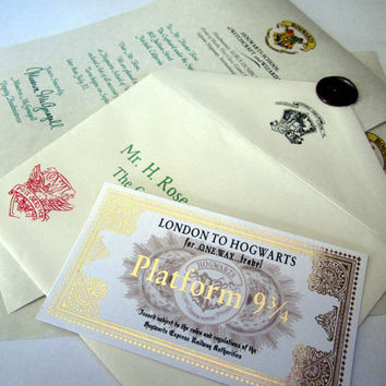 Wizarding School Acceptance Letter & Gold-Foiled Train Ticket
