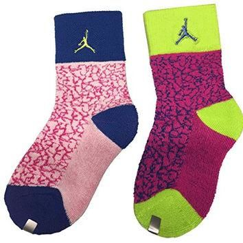 Jordan Retro Elephant Print 2-Pack Crew Socks Youth Girls Size: 3Y-5Y/7-9