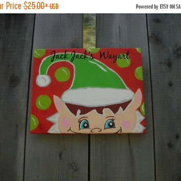 Christmas In July Sale Elf painting 8 x 10 Christmas painting Child's room decor Christmas elf ©  Jack Jack's Wayart