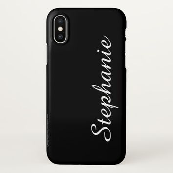 CHOOSE YOUR COLOR, Custom Script Name, Elegant iPhone X Case