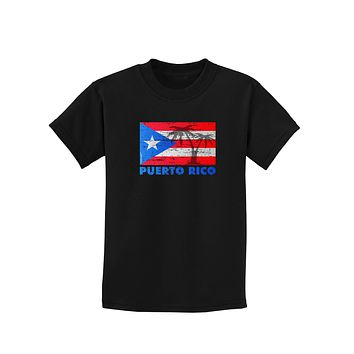 Distressed Puerto Rico Flag Childrens Dark T-Shirt
