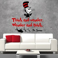 "Dr Seuss Wall Decals Quote Full Color Think and Wonder Colorful Sayings Classroom Vinyl Decal Stickers Nursery Bedroom Playroom Decor EN34 (17"" Tall x 17"" Wide)"