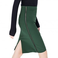 Split Back Zip Side Pencil Skirt