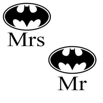 Batman Inspired Mr and Mrs Wedding/Couple Decal