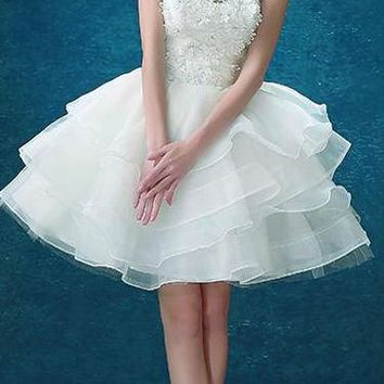 White Prom Dresses Ball Gown Sleeveless Short Prom Dresses O-Neck Prom Dress