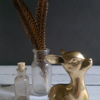 Vintage Brass Baby Deer/ Small Brass Deer Statue/ Silver Mfg Co Brass Deer/ Small Brass Fawn