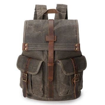 Vintage Waxed Canvas With Leather 21 Liters Men's Backpack