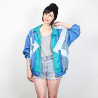 Vintage 80s Bomber Jacket Teal Blue Green Gray Color Block Wind Breaker Sporty Track Jacket New Wave 1980s Surfer Windbreaker L Large
