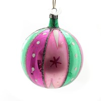 Holiday Ornaments Vintage Ball W/Stripes And Dots Glass Ornament