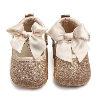 Fashion Baby Girl shoes Soft Sole Bling Bowknot