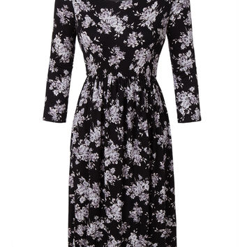 LE3NO Womens Casual Flared 3/4 Sleeve Floral Print Midi Dress
