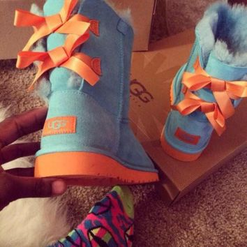 """""""UGG"""" Fashion Winter Women Cute Bowknot Flat Warm Snow Ankle Boots I"""