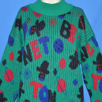 80s Green Outer Space Benetton Sweater Large