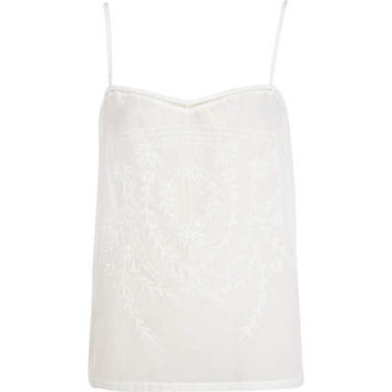 White embroidered woven front cami top - plain t-shirts / tanks - t shirts / tanks / sweats - women