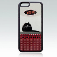 Funny black Cat iPhone 6 case, meow iPhone 6 cover, fat cat iPhone 6 case, cool, cute