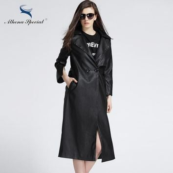 New Arrival Women Leather Jackets Fashion Trench Coat With Belted Slim Motorcycle Outwear High Quality