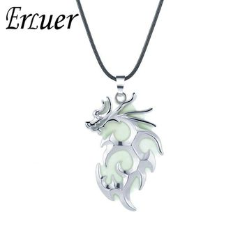 ERLUER Glowing In The Dark Dragon Luminous Pendant Necklaces Gold Silver Charm Necklace Halloween gift Fashion Necklace For men