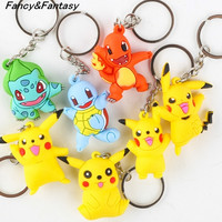 Fancy&Fantasy Pokemon go  PVC Keychain  Pocket Monsters Pikachu Charmander Squirtle Bulbasaur 3D  Mini Figure Key Ring Dropship