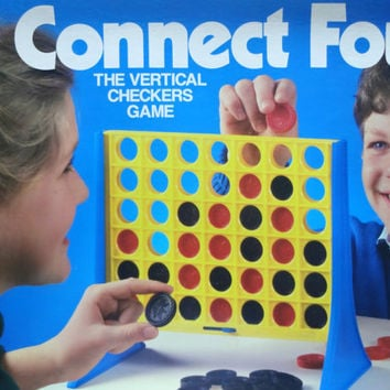 Vintage Connect Four Vertical Checkers Board Game 1986