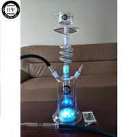 HY new twirl glass shisha hookah rotating glass hookah spiral hookah glass with water proof led and remote control EPE safe pack