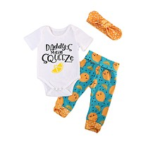 Baby Girl Short Sleeve Romper Pants Headbands 3pcs Outfits Clothing Set Newborn Baby Girls Clothes Sets