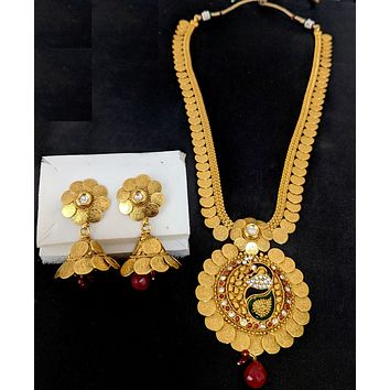 Traditional Goddess Lakshmi Coin design Long haram chain with Peacock Pendant necklace and Jhumka earring set - Design 2