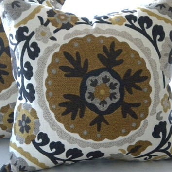 Brown Suzani Decorative Pillow 16 x 16 Holiday decor Grey Brown