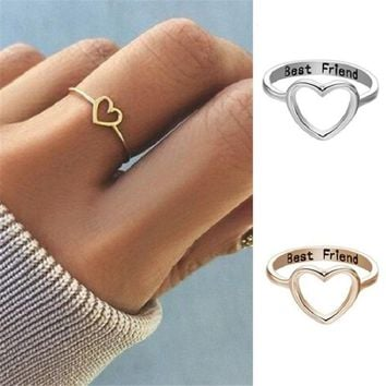 ZRAY Love Shape Rings for Women Gold Silver Color Letters Carved Rings Romantic Couple Lovers' Rings Fashion Gift for Friends