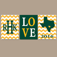 Baylor Green Gold Chevron Custom Family College Monogram Initial State LOVE School University Gift Wedding Set of 3 Wall Art Canvas or Print
