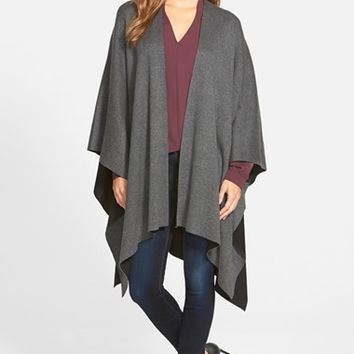 Women's Vince Camuto Reversible Cotton Knit Poncho,