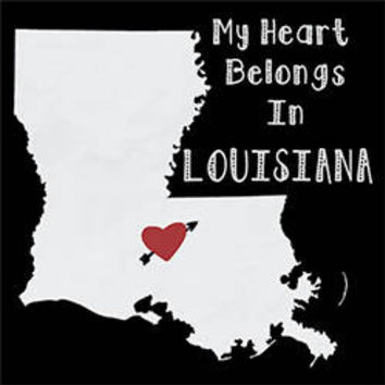 My heart belongs in LOUISIANA state city home city country t shirt love t-shirts Men's T-shirt Homeland home land