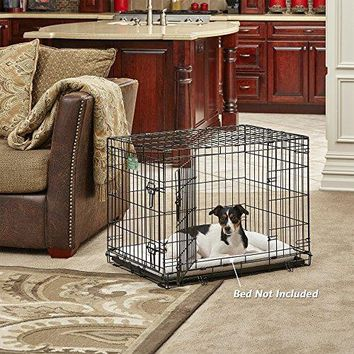 """MidWest iCrate 36"""" Double Door Folding Metal Dog Crate w/ Divider Panel"""