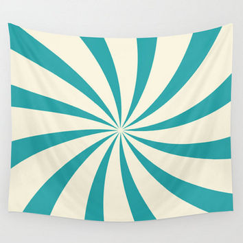 Teal Wall Tapestry Circus Swirl Sunburst Design Blue Cream Off White Dorm Nursry Room Home Decor
