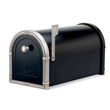 Architectural Mailboxes 5504B Coronado Black Mailbox with Antique Nickel Accents