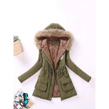 Faux Fur Lined Parka Coat