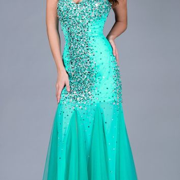 Sweetheart Neckline Strapless Jade Mermaid Prom Gown