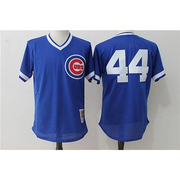 Mitchell & Ness Ryne Sandberg Chicago Cubs Anthony Rizzo Authentic Collection Throwback Replica Jersey - Royal Blue