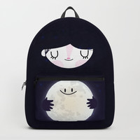 Hug the moon Backpacks by Maria Jose Da Luz