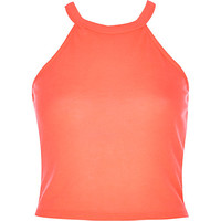 River Island Womens Bright coral racer front crop top