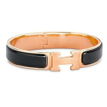 Hermes Bracelet Women's Men Enamelled Palladium H Wide Bracelet Black gold