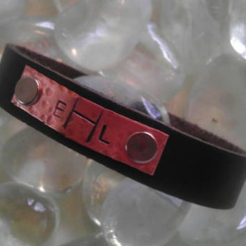 Personalized Leather Custom Hand Stamped Bracelet