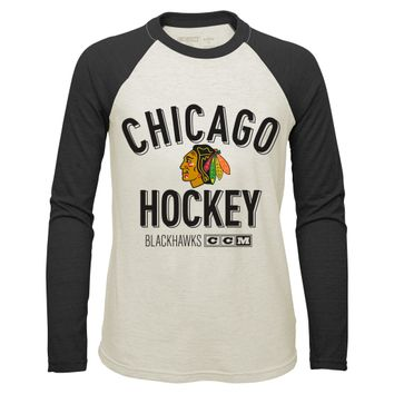 Chicago Blackhawks CCM Vintage Long Sleeve Crew Neck Tee