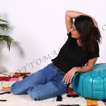 Turquoise Genuine Leather Hand Stitched Ottoman Pouf