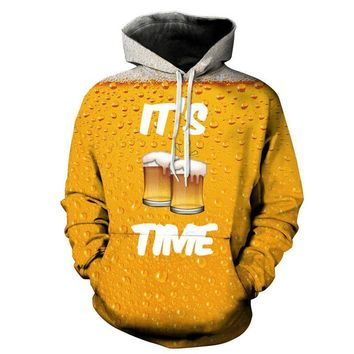 Its Beer Time - Drinking Unisex Hoodie - All Over Print Sweater