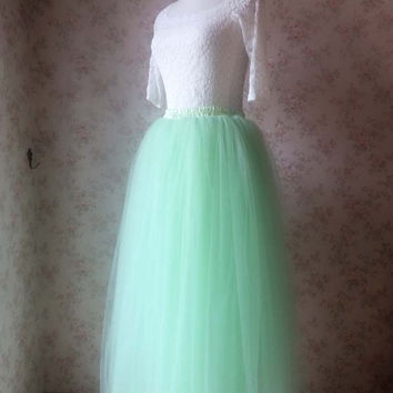 Mint Green Long Tutu Skirt, Adult tutu Skirt, Wedding Tutu Skirt, Bachelorette tutu, Elastic Waist Tulle Skirt, Detachable Tutu Skirt(T2810)