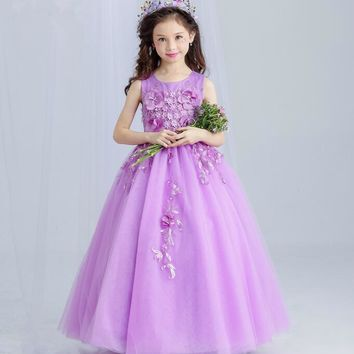 Sweet Violet Tulle Lace Girl Wedding Dress Floor Length Appliques Bead Kids Party Prom Dress First Communion Dresses for girls