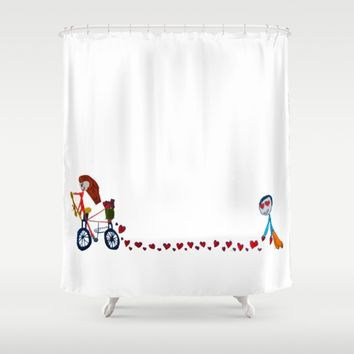 I'm in love | Be my Valentine | Kids Painting Shower Curtain by Azima